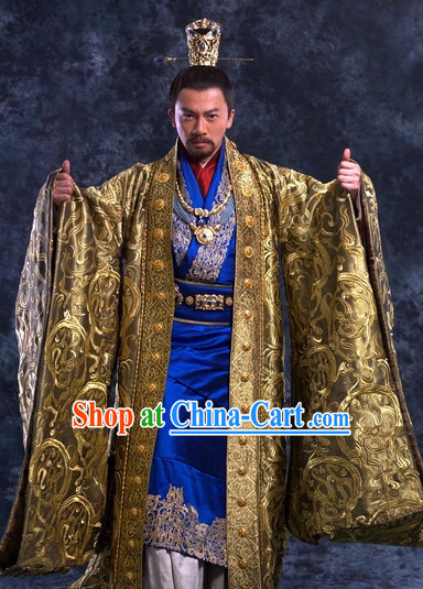 Imperial Palace Emperor Traditional Costumes and Crown Complete Set for Men
