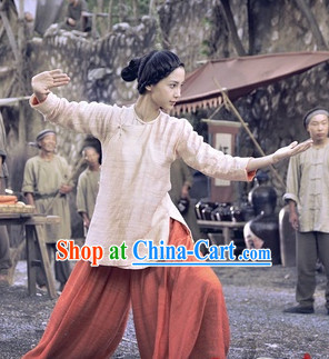 Traditioal Kung Fu Lady Flax Costumes Complete Set