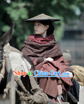 Brown Cinematic Style Swordswoman Costumes and Bamboo Hat Complete Set