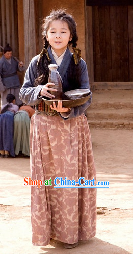 Ancient Chinese Village Girl Dresses Complete Set