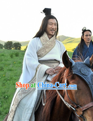 White Long Traditional Hanfu Dressese for Men