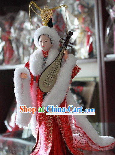 Handmade Beijing Silk Figurine Doll - Beauty Wang Zhaojun with Red Hanfu