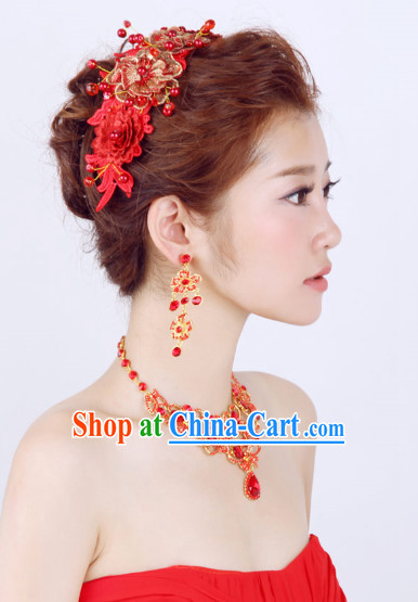 Chinese Classic Wedding Hair Accessories, Earrings and Necklace
