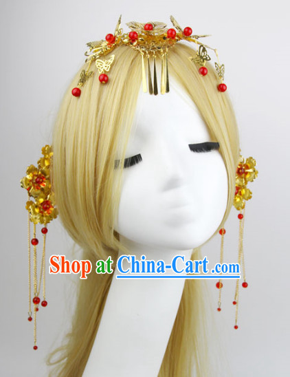 Romantic Chinese Traditional Red Headpiece