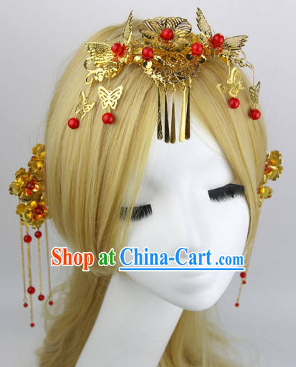 Romantic Chinese Traditional Golden Hair Jewelry