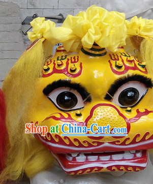 Yellow Face Smiling Beijing Lion Dance Head