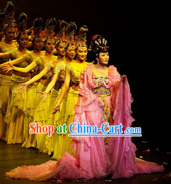 Ancient Chinese Imperial Palace Empress Dance Costumes and Hair Accessories Complete Set