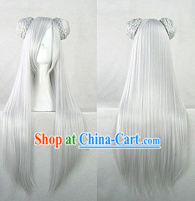 Ancient Chinese Fairy Cosplay White Wig for Girls