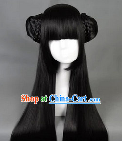 Ancient Chinese Black Long Wig