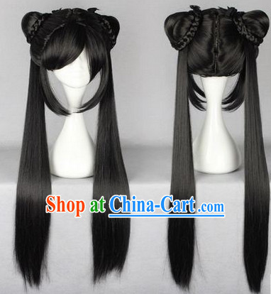 Chinese Classic Black Hanfu Wig for Girls