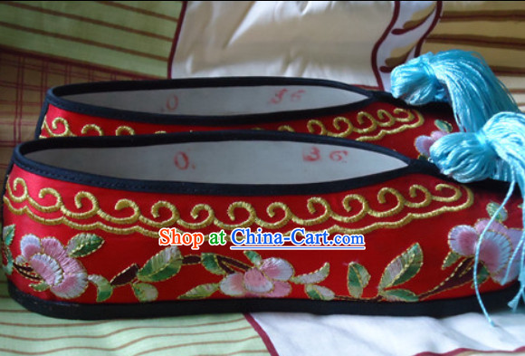Traditional Beijing Opera Hua Dan Embroidered Shoes