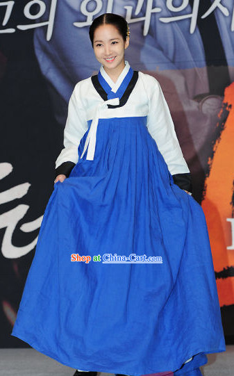 Ancient Korean Blue and White Female Costumes Complete Set