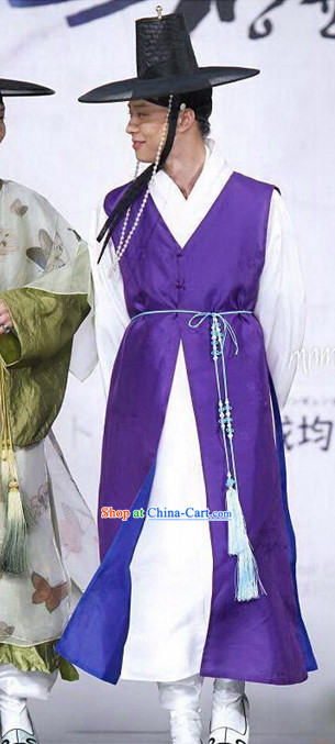 Ancient Korean Official Suit and Black Hat Complete Set