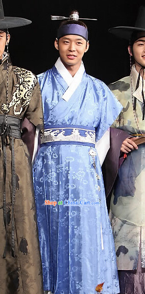 Ancient Korean Officcial Costumes and Head Band Complete Set for Men