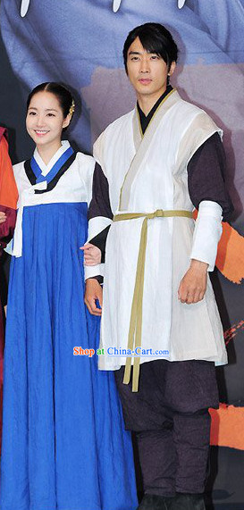 Traditional Korean Husband and Wife Costumes 2 Complete Sets