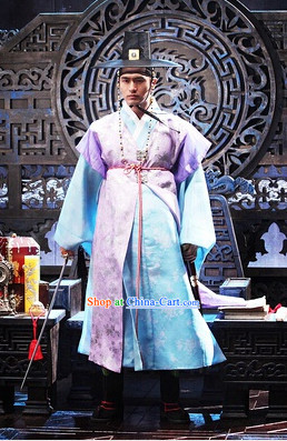 Traditional Korean Costumes and Hat Complete Set for Men