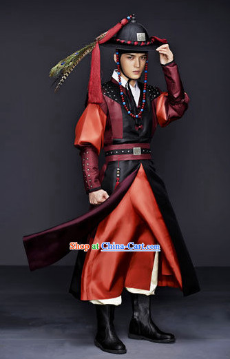Traditional Korean Swordman Costumes Korean Male Warrior Costume National Costume of Korea