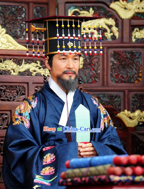 Traditional Korean Historical Emperor Costumes and Hat