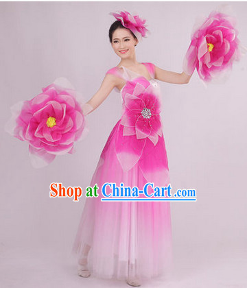 Big Festival Celebration Stage Dance Costume and Headwear for Girls