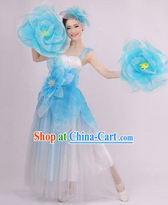 Big Festival Celebration Stage Flower Dance Costume and Headwear for Girls