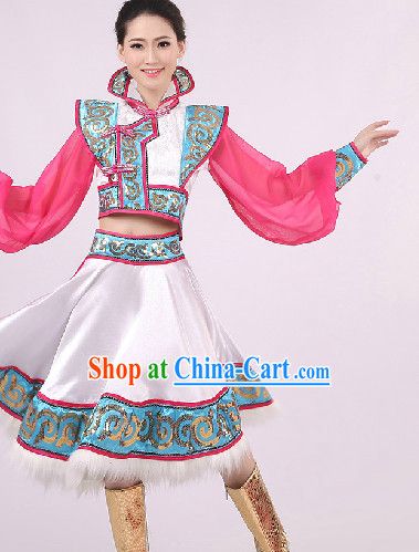 Big Festival Celebration Stage Mongolian Dance Costumes Complete Set for Girls