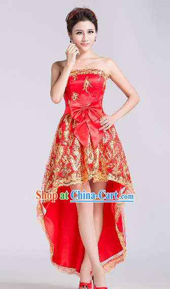 Lucky Red Wedding Dresses Complete Set for Bridal Girl