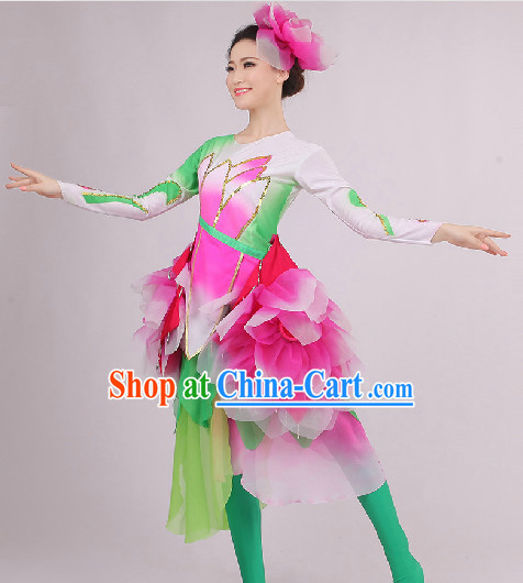 Traditional Chinese Folk Dance Costumes and Headwear Complete Set for Women