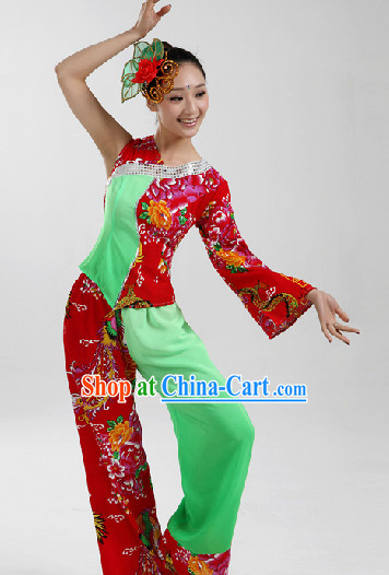 Traditional Chinese Folk Dancing Costumes and Headwear Complete Set for Women 1