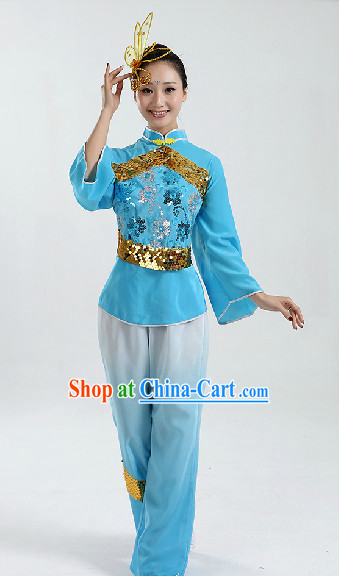 Traditional Chinese Folk Dancing Costumes and Headwear Complete Set for Women 2