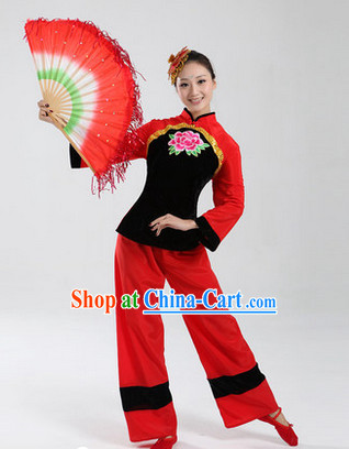 Traditional Chinese Folk Dancing Costumes and Headwear Complete Set for Women 3