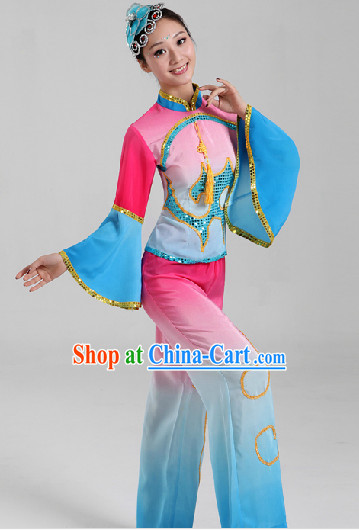 Enchanting Effect Folk Dance Costumes and Headwear Complete Set for Women