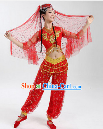 Enchanting Effect Folk Dance Suit and Headwear Complete Set for Women