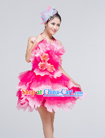 Traditional Chinese Flower Dancing Costumes and Headwear Complete Set for Women
