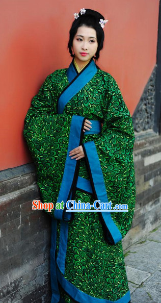 Han Dynasty Peacock Feather Pattern Traditional Clothes for Women