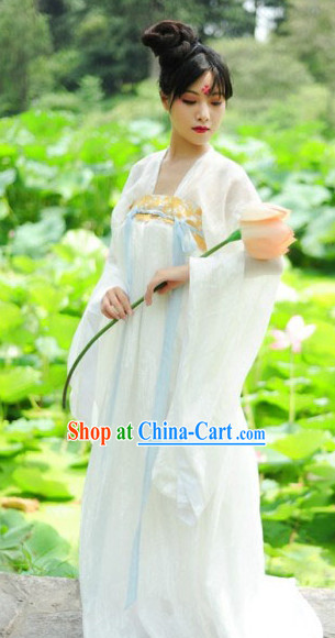 Tang Dynasty White Dresses for Women
