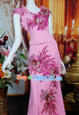 Southeast Asia Traditional Birthday Party Wear Clothes Complete Set for Women