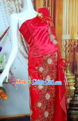 Southeast Asia Traditional Laos Wedding Dresses for Women