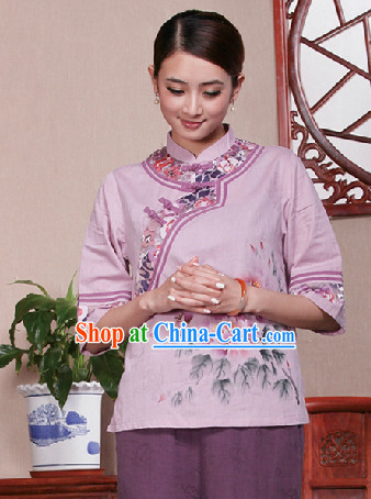 Traditional Chinese Hands Painted Mandarin Shirt for Girls