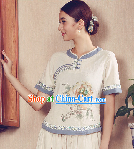 Hands Painted Summer Wear Mandarin Traditional Shirt for Women