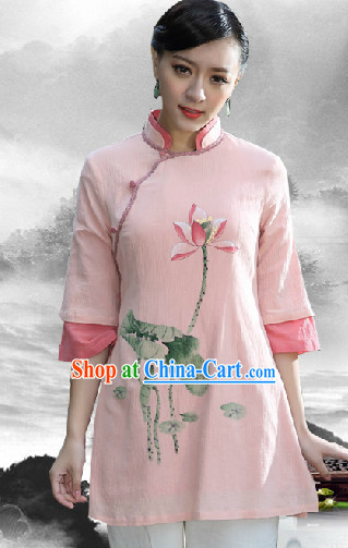Hands Painted Lotus Mandarin Traditional Long Blouse for Women
