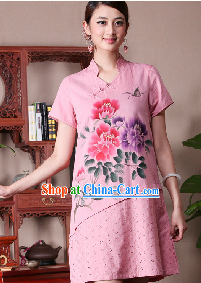 Hands Painted Peony Mandarin Traditional Skirt for Women