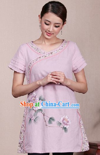 Hands Painted Lotus Mandarin Traditional Long Top for Women