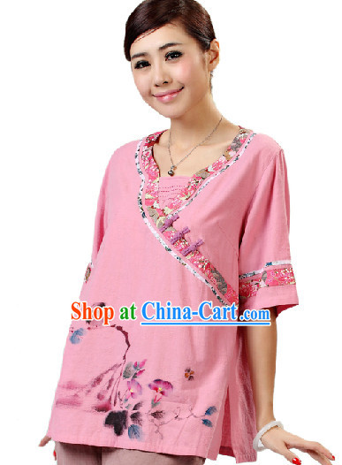 Hands Painted Mandarin Traditional Garment for Women