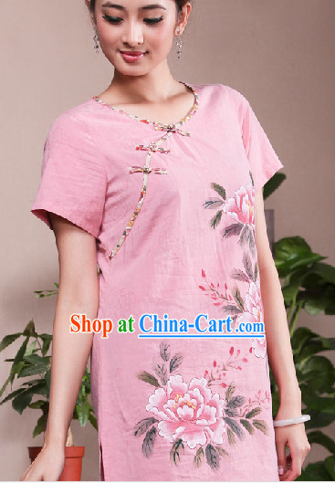 Hands Painted Mandarin Traditional Long Shirt for Women
