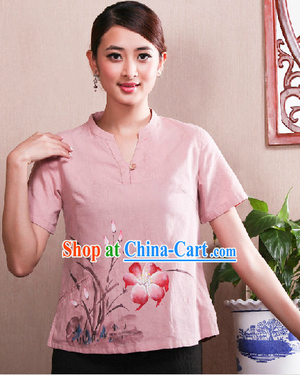 Hands Painted Mandarin Traditional Short Shirt for Women