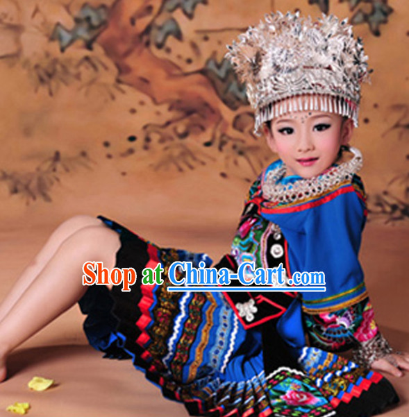 Miao Girl Clothes and Hat Complete Set for Kids