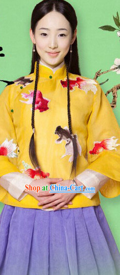 Traditional Chinese Mandarin Goldfish Embroidery Clothes for Girls
