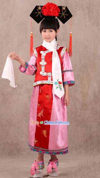 Qing Dynasty Princess Costumes and Headwears for Children