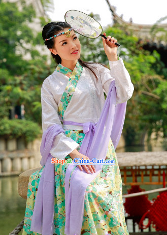 Traditional Chinese Fan Dancewear and Headwear Complete Set for Women