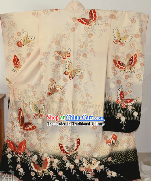 Traditional Japanese Butterfly Kimono Set for Women